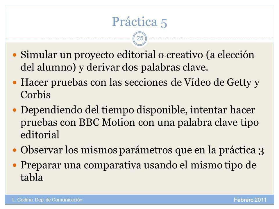 Práctica 5 Simular un proyecto editorial o creativo (a elección del alumno) y derivar dos palabras clave. Hacer pruebas con las secciones de Vídeo de