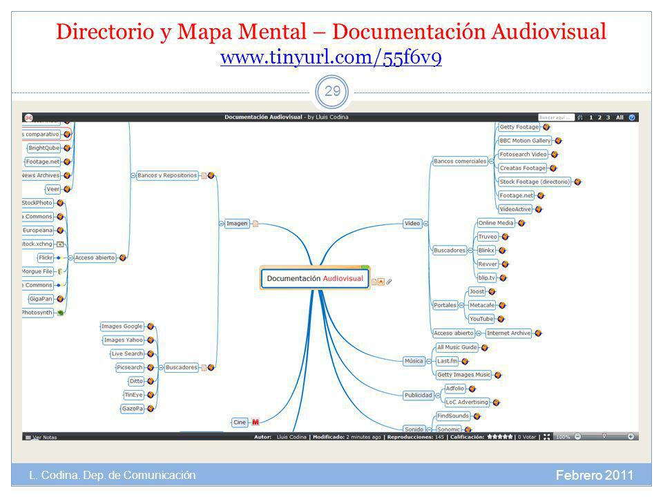 Directorio y Mapa Mental – Documentación Audiovisual www.tinyurl.com/55f6v9 www.tinyurl.com/55f6v9 Febrero 2011 L. Codina. Dep. de Comunicación 29