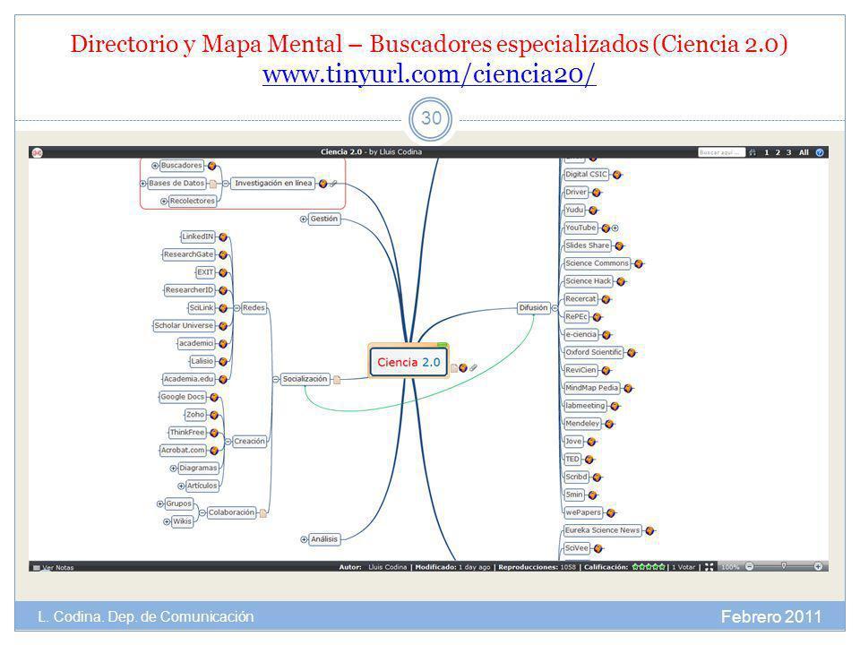 Directorio y Mapa Mental – Buscadores especializados (Ciencia 2.0) www.tinyurl.com/ciencia20/ www.tinyurl.com/ciencia20/ Febrero 2011 L. Codina. Dep.