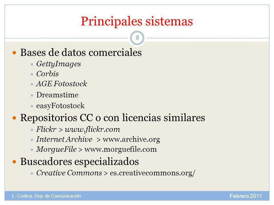 Principales sistemas Bases de datos comerciales GettyImages Corbis AGE Fotostock Dreamstime easyFotostock Repositorios CC o con licencias similares Fl