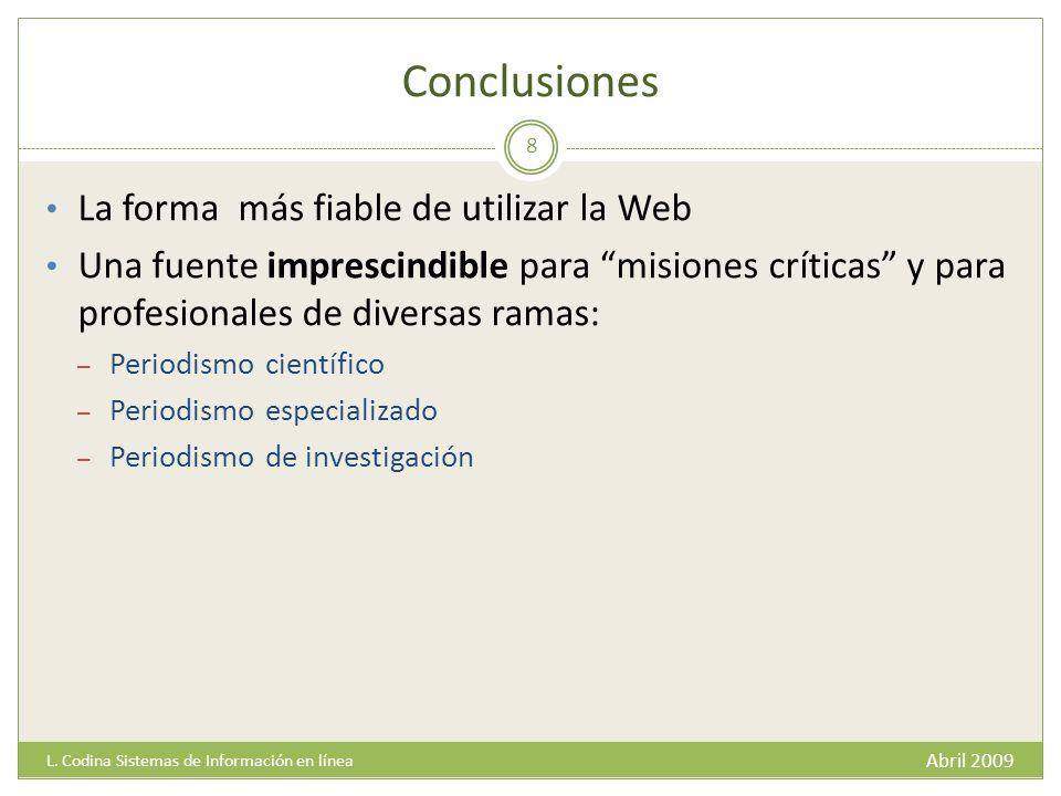 Conclusiones Abril 2009 L.