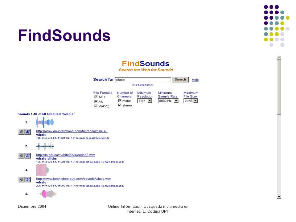 Diciembre 2004Online Information. Búsqueda multimedia en Internet. L. Codina UPF FindSounds