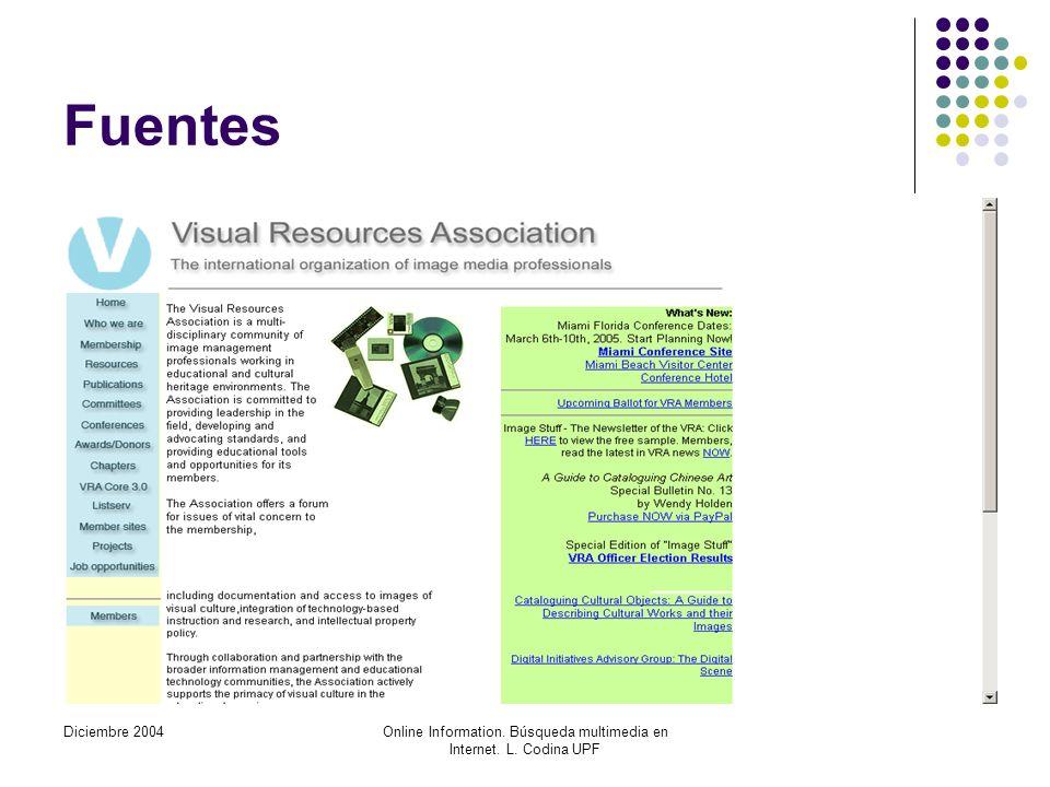 Diciembre 2004Online Information. Búsqueda multimedia en Internet. L. Codina UPF Fuentes