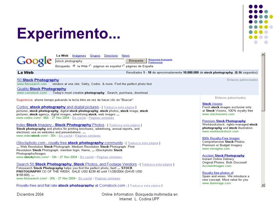 Diciembre 2004Online Information. Búsqueda multimedia en Internet. L. Codina UPF Experimento...