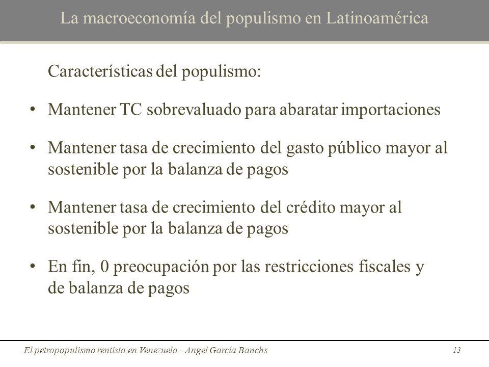 La macroeconomía del populismo en Latinoamérica Características del populismo: Mantener TC sobrevaluado para abaratar importaciones Mantener tasa de c