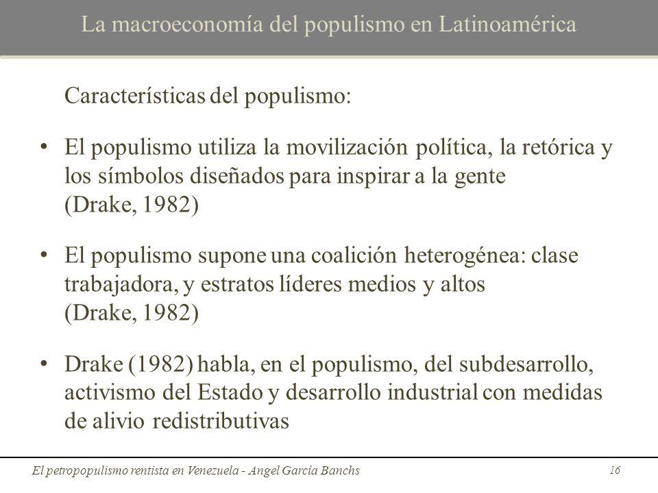 La macroeconomía del populismo en Latinoamérica Características del populismo: El populismo utiliza la movilización política, la retórica y los símbol