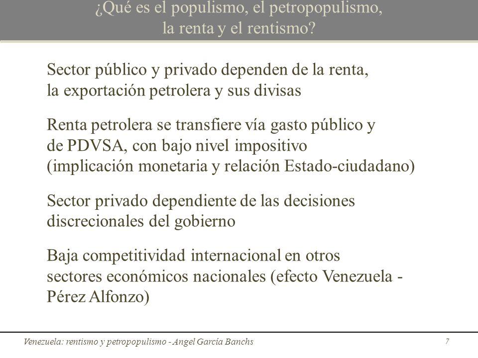 Diferencia entre populismo y petropopulismo Diferencias entre populismo y petropopulismo: El prefijo petro agrega un elemento azaroso muy importante: el precio del crudo Mi conclusión es que para que el petropopulismo sea sostenible la tasa de crecimiento del precio del crudo debe ser mayor o igual a la tasa de inflación interna; así fue hasta 2008 28 El petropopulismo rentista en Venezuela - Angel García Banchs