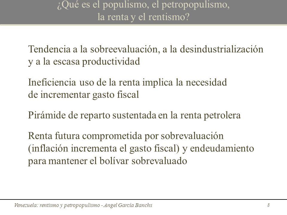 Diferencia entre populismo y petropopulismo Diferencias entre populismo y petropopulismo: El populismo, a diferencia del petropopulismo, no cuenta con una entrada de divisas independiente de la productividad de la economía.