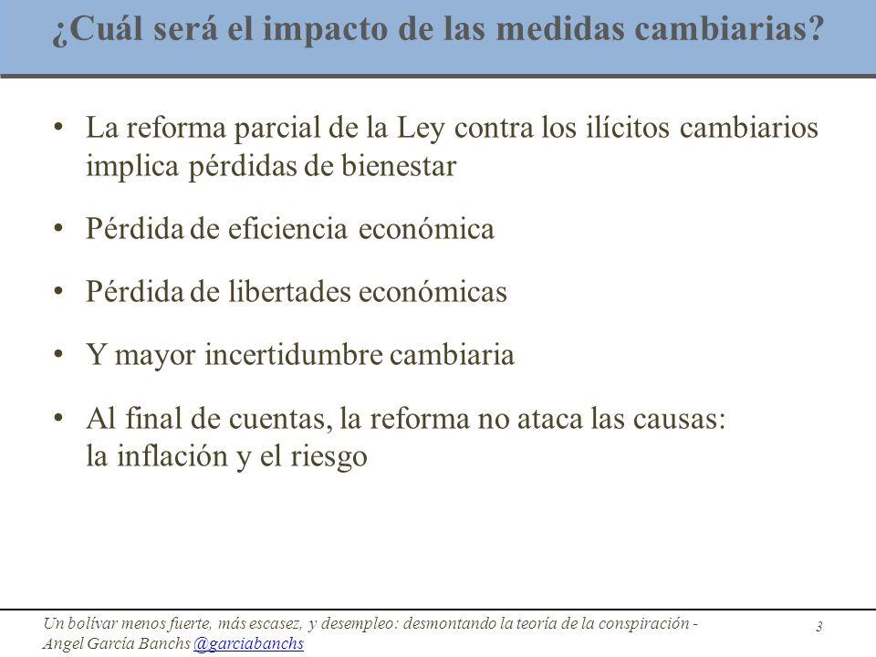 ¿Cuál será el impacto de las medidas cambiarias? La reforma parcial de la Ley contra los ilícitos cambiarios implica pérdidas de bienestar Pérdida de