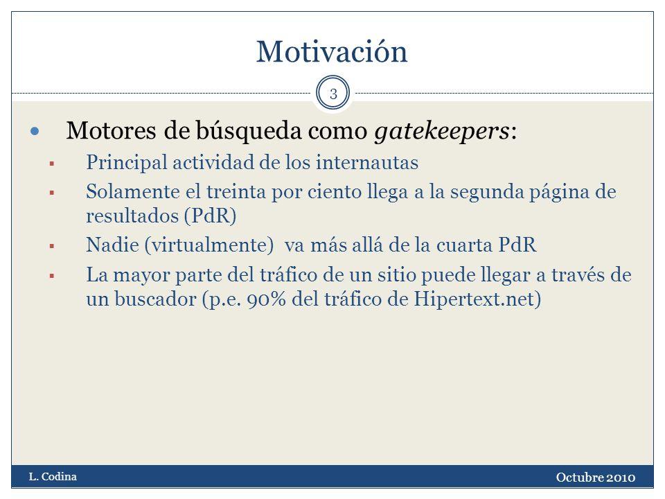 Motivación Octubre 2010 L. Codina 3 Motores de búsqueda como gatekeepers: Principal actividad de los internautas Solamente el treinta por ciento llega