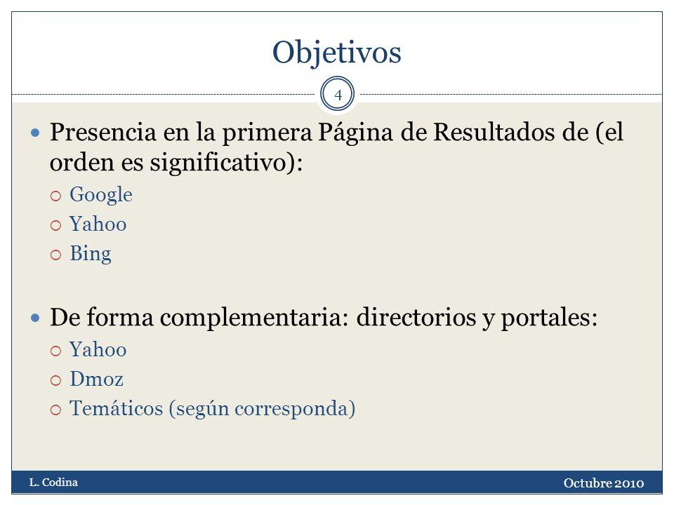 Objetivos Octubre 2010 L. Codina 4 Presencia en la primera Página de Resultados de (el orden es significativo): Google Yahoo Bing De forma complementa