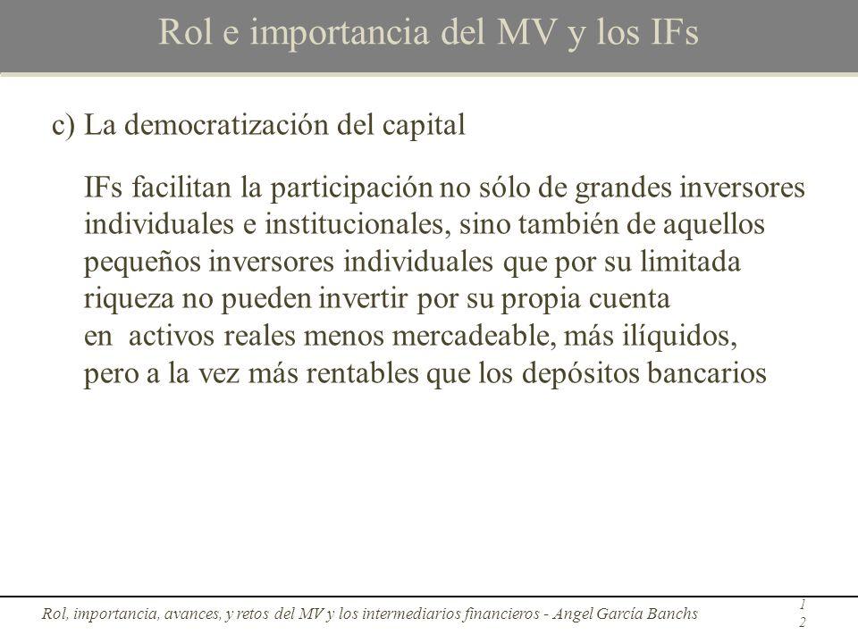 Rol e importancia del MV y los IFs c)La democratización del capital IFs facilitan la participación no sólo de grandes inversores individuales e instit
