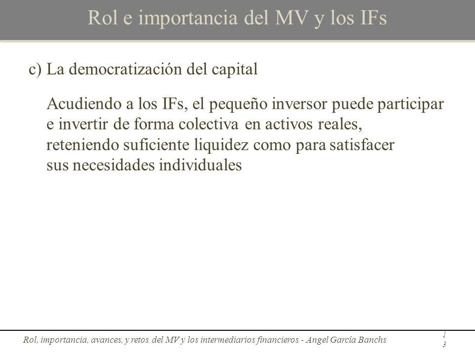 Rol e importancia del MV y los IFs c)La democratización del capital Acudiendo a los IFs, el pequeño inversor puede participar e invertir de forma cole