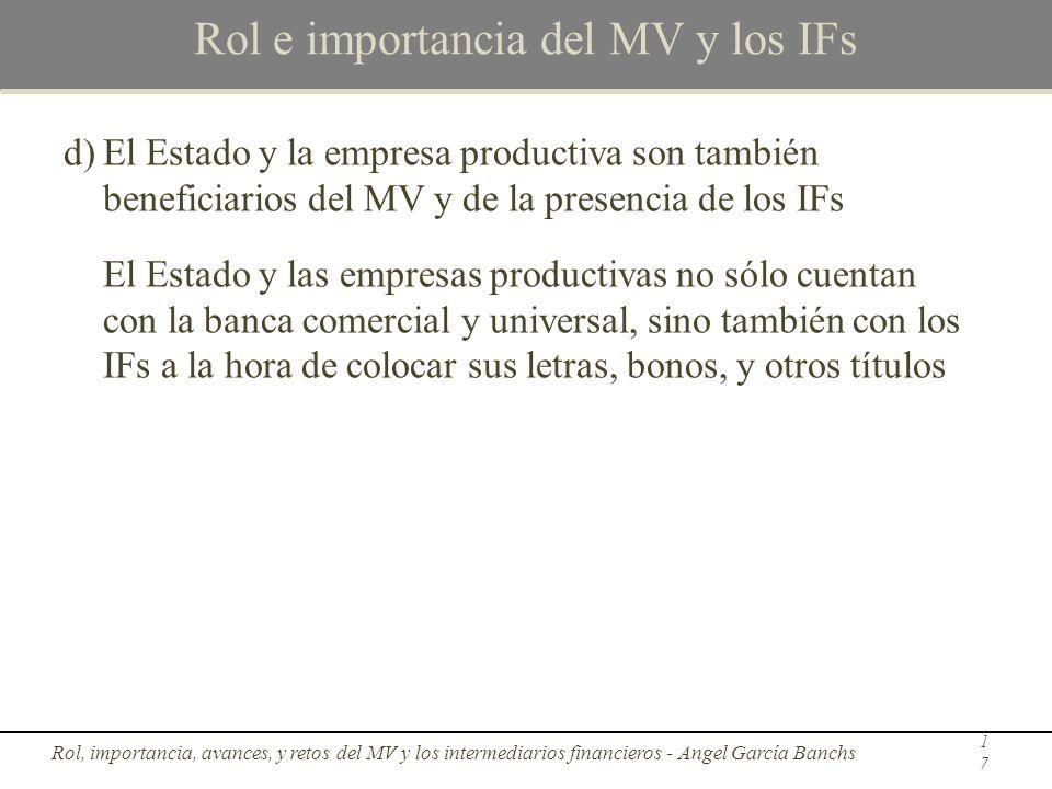 Rol e importancia del MV y los IFs d)El Estado y la empresa productiva son también beneficiarios del MV y de la presencia de los IFs El Estado y las e