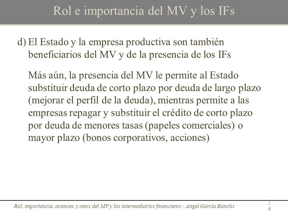 Rol e importancia del MV y los IFs d)El Estado y la empresa productiva son también beneficiarios del MV y de la presencia de los IFs Más aún, la prese