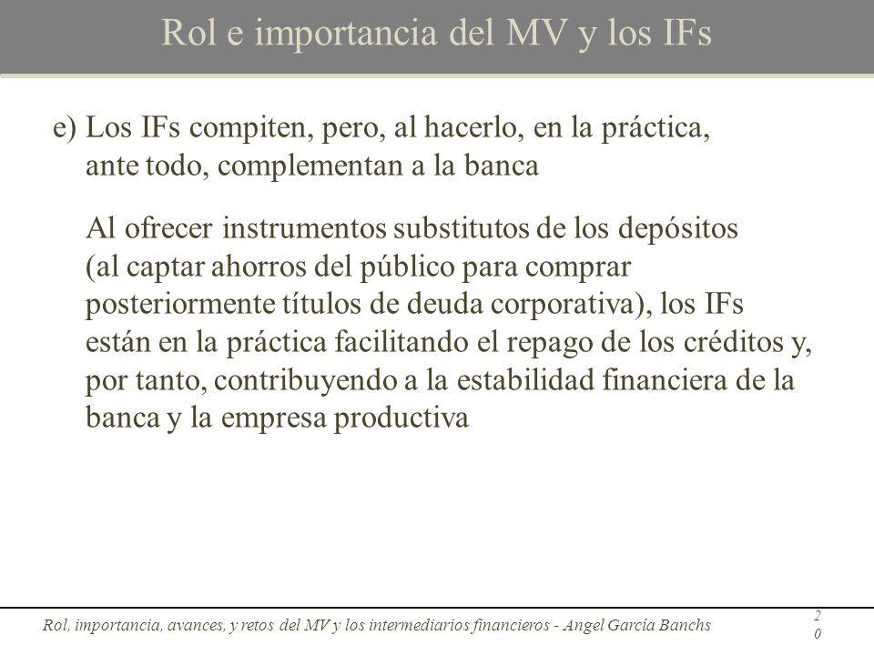 Rol e importancia del MV y los IFs e)Los IFs compiten, pero, al hacerlo, en la práctica, ante todo, complementan a la banca Al ofrecer instrumentos su