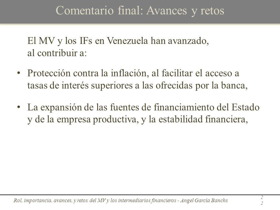 Comentario final: Avances y retos El MV y los IFs en Venezuela han avanzado, al contribuir a: Protección contra la inflación, al facilitar el acceso a