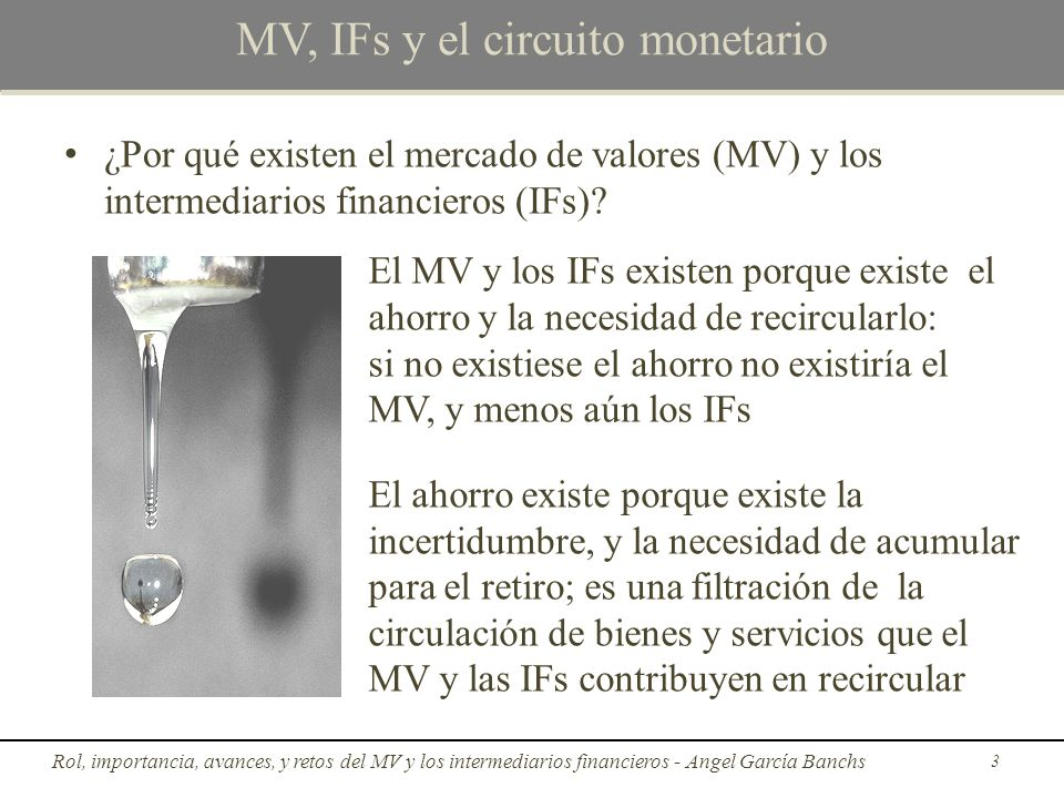 Rol e importancia del MV y los IFs c)La democratización del capital El IF competitivo minimiza costos transaccionales para la sociedad, costos que son sus ingresos; así que está incentivado a ampliar el MV Rol, importancia, avances, y retos del MV y los intermediarios financieros - Angel García Banchs14