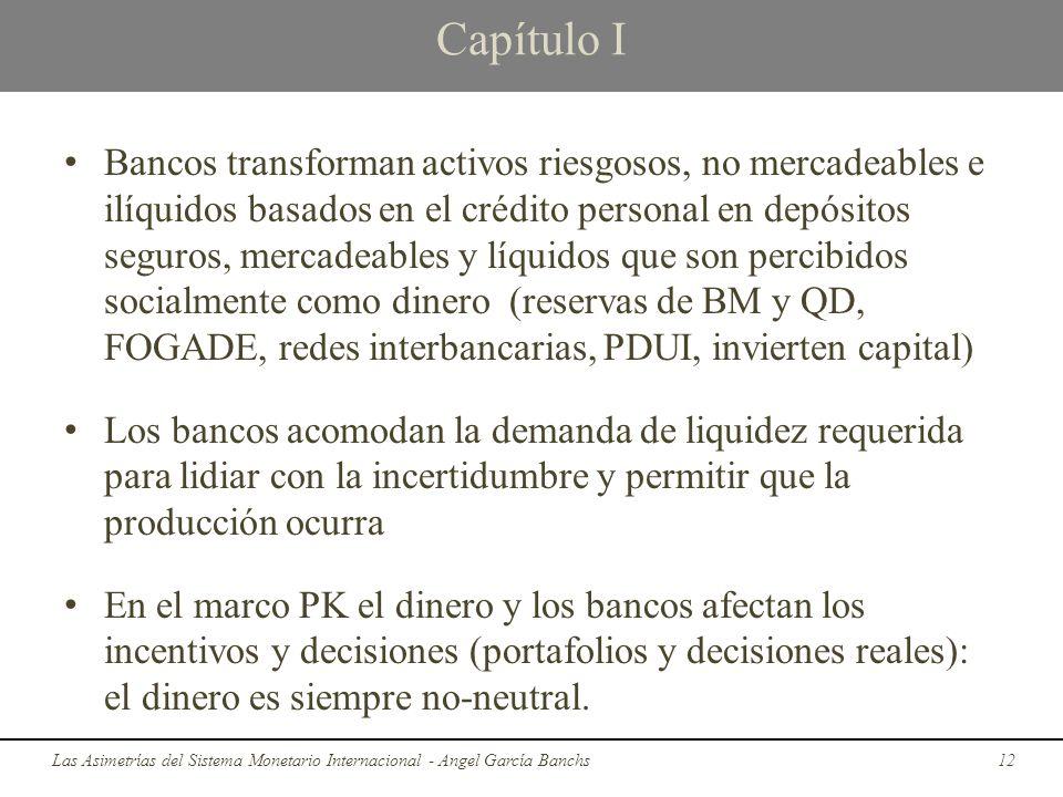 Capítulo I Bancos transforman activos riesgosos, no mercadeables e ilíquidos basados en el crédito personal en depósitos seguros, mercadeables y líqui