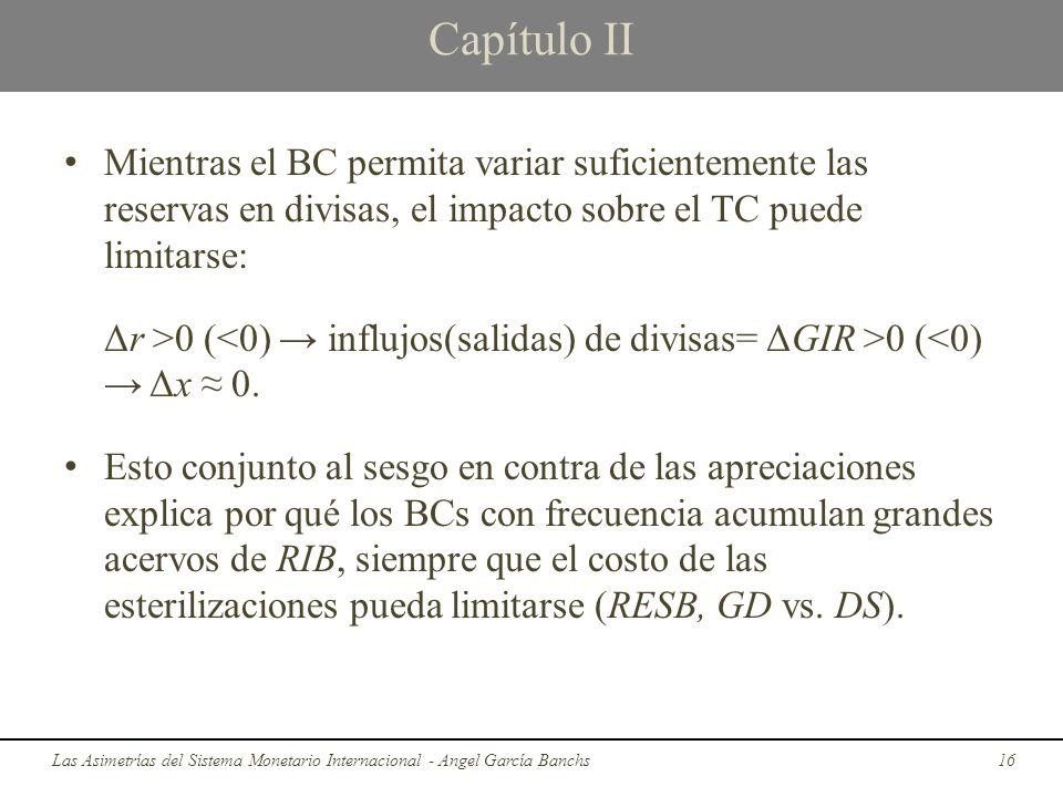 Capítulo II Mientras el BC permita variar suficientemente las reservas en divisas, el impacto sobre el TC puede limitarse: Δr >0 ( 0 (<0) Δx 0. Esto c