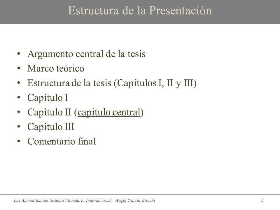 Estructura de la Presentación Argumento central de la tesis Marco teórico Estructura de la tesis (Capítulos I, II y III) Capítulo I Capítulo II (capít