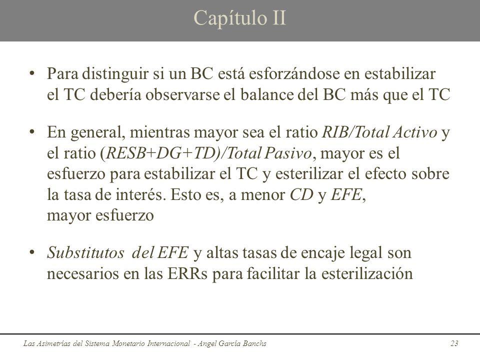 Capítulo II Para distinguir si un BC está esforzándose en estabilizar el TC debería observarse el balance del BC más que el TC En general, mientras ma