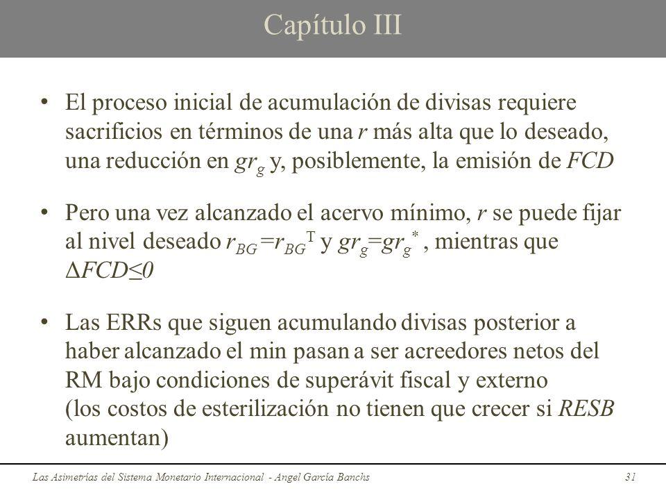 Capítulo III El proceso inicial de acumulación de divisas requiere sacrificios en términos de una r más alta que lo deseado, una reducción en gr g y,