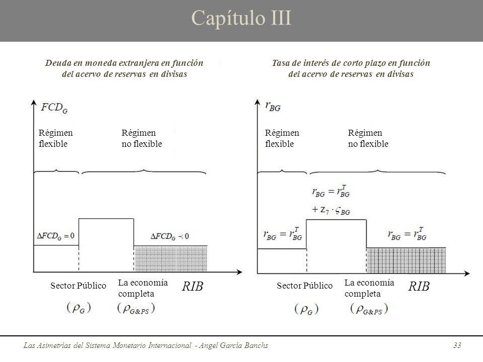 Capítulo III Las Asimetrías del Sistema Monetario Internacional - Angel García Banchs33 Deuda en moneda extranjera en función del acervo de reservas e