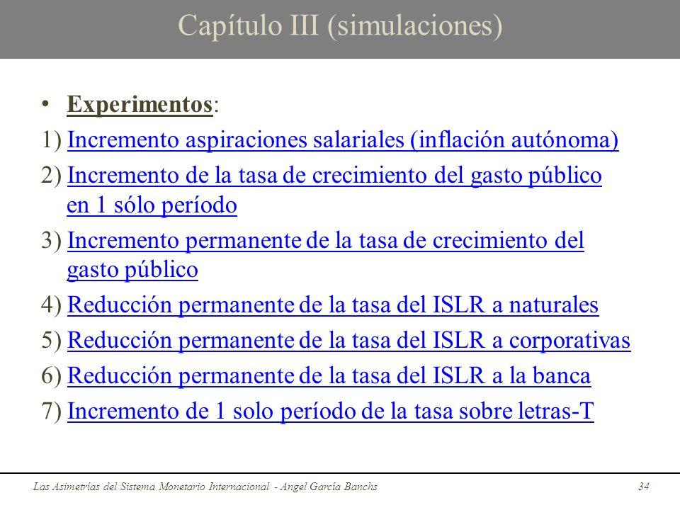 Capítulo III (simulaciones) Experimentos: 1) Incremento aspiraciones salariales (inflación autónoma)Incremento aspiraciones salariales (inflación autó