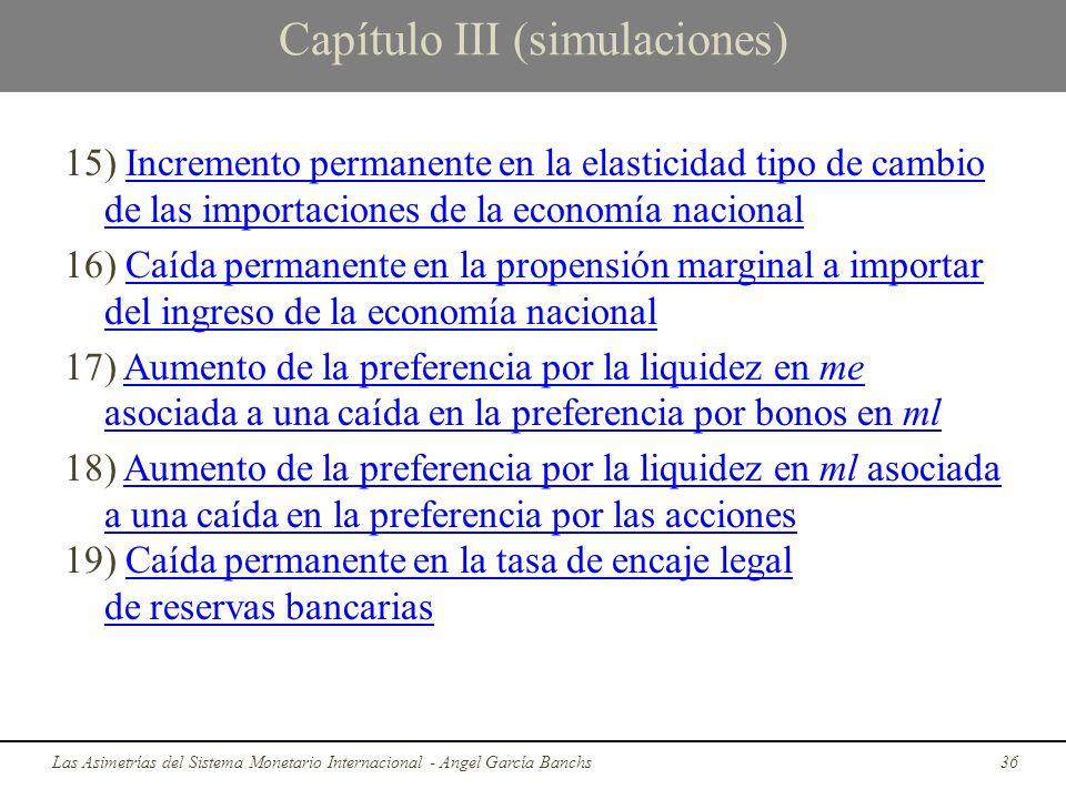 Capítulo III (simulaciones) 15) Incremento permanente en la elasticidad tipo de cambio de las importaciones de la economía nacionalIncremento permanen