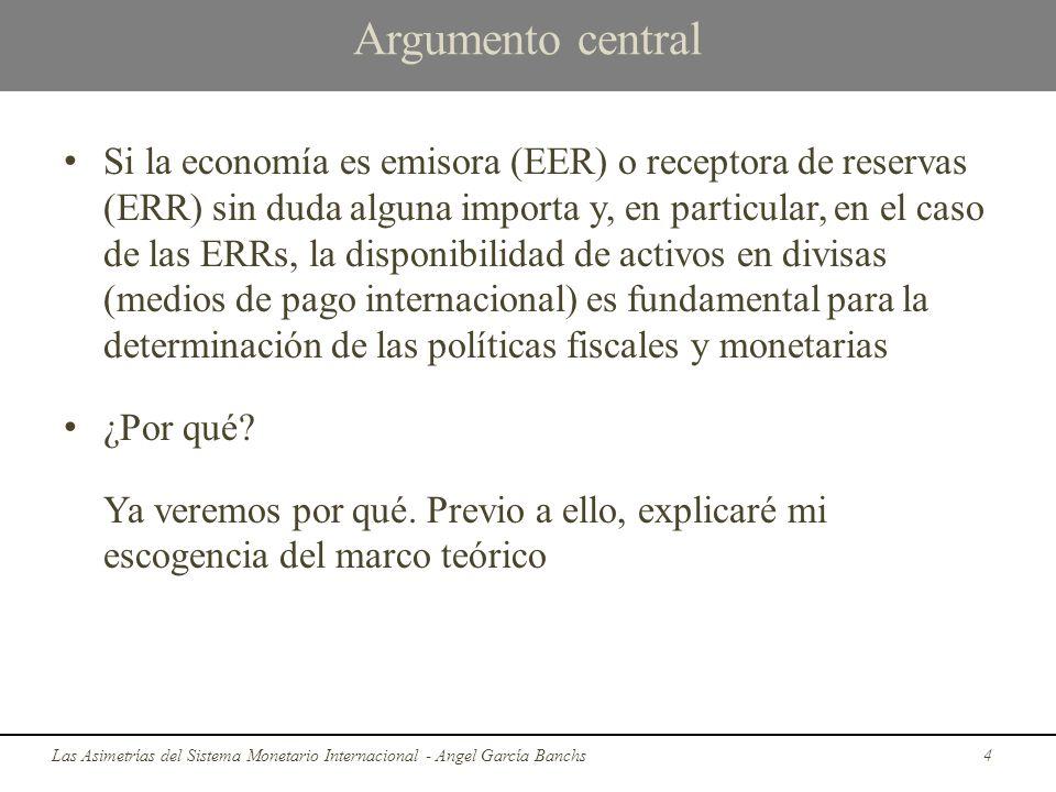 Argumento central Si la economía es emisora (EER) o receptora de reservas (ERR) sin duda alguna importa y, en particular, en el caso de las ERRs, la d