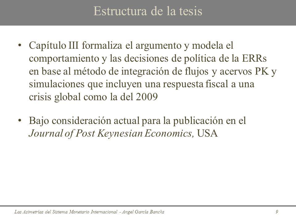 Estructura de la tesis Capítulo III formaliza el argumento y modela el comportamiento y las decisiones de política de la ERRs en base al método de int
