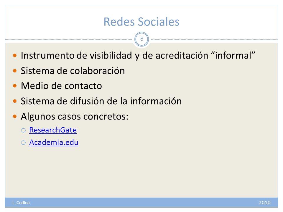 Redes Sociales Instrumento de visibilidad y de acreditación informal Sistema de colaboración Medio de contacto Sistema de difusión de la información A
