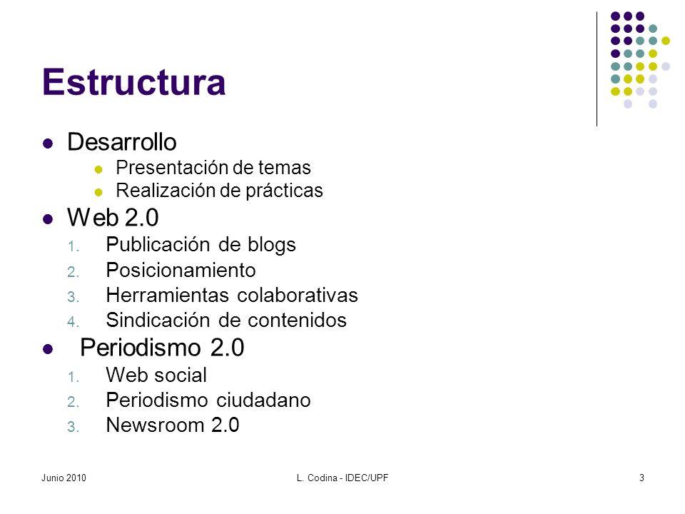 Estructura Desarrollo Presentación de temas Realización de prácticas Web 2.0 1. Publicación de blogs 2. Posicionamiento 3. Herramientas colaborativas