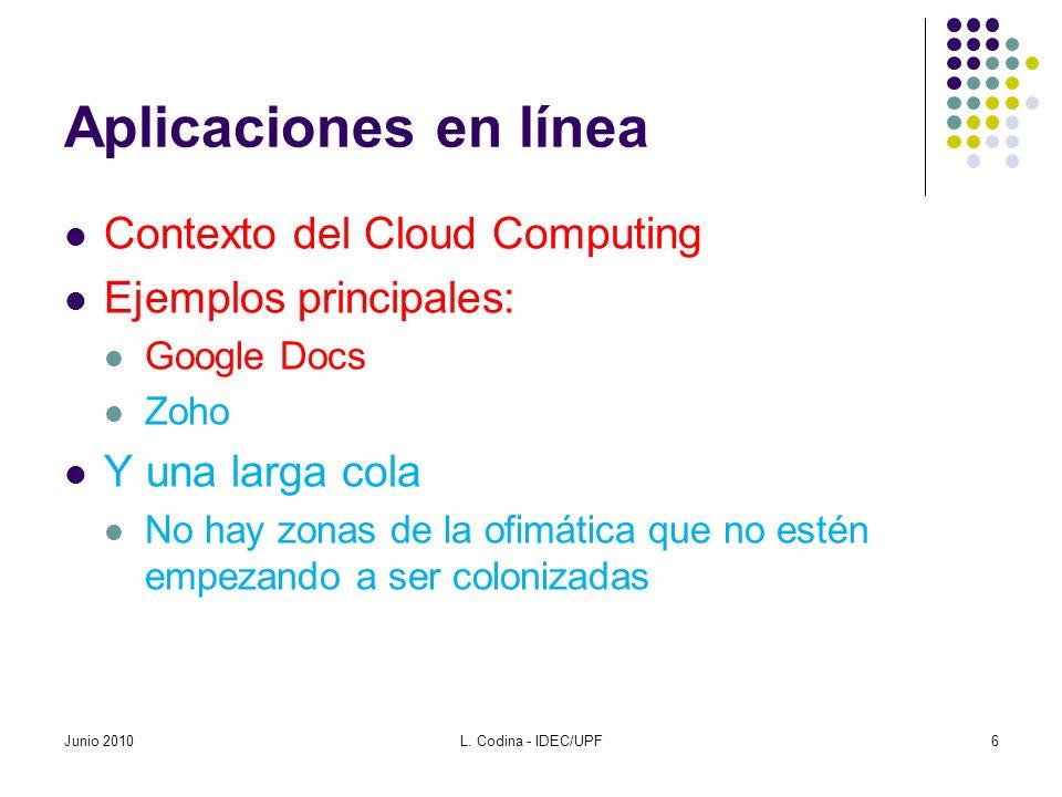 Aplicaciones en línea Contexto del Cloud Computing Ejemplos principales: Google Docs Zoho Y una larga cola No hay zonas de la ofimática que no estén e