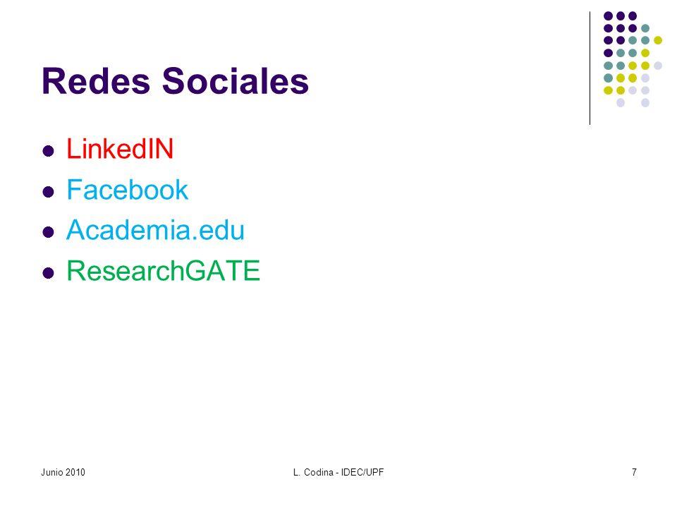 Redes Sociales LinkedIN Facebook Academia.edu ResearchGATE Junio 20107L. Codina - IDEC/UPF