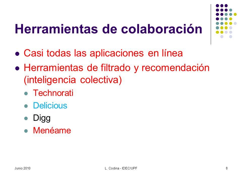 Herramientas de colaboración Casi todas las aplicaciones en línea Herramientas de filtrado y recomendación (inteligencia colectiva) Technorati Delicio