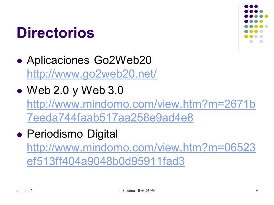 Directorios Aplicaciones Go2Web20 http://www.go2web20.net/ http://www.go2web20.net/ Web 2.0 y Web 3.0 http://www.mindomo.com/view.htm?m=2671b 7eeda744