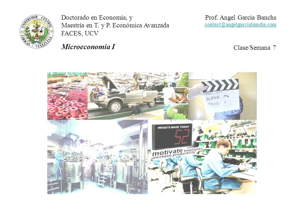 Teoría de la producción El punto de partida del análisis de las decisiones de producción es el problema de minimizar los costos de producir un nivel dado de producto sujeto a restricciones presupuestarias.