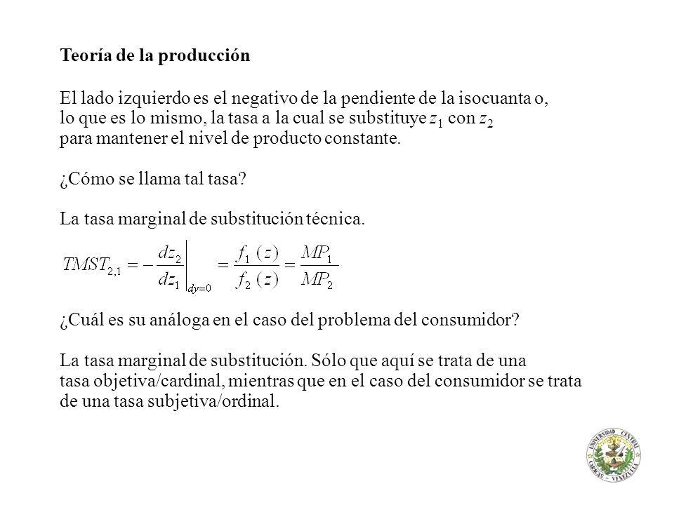 Teoría de la producción El lado izquierdo es el negativo de la pendiente de la isocuanta o, lo que es lo mismo, la tasa a la cual se substituye z 1 co