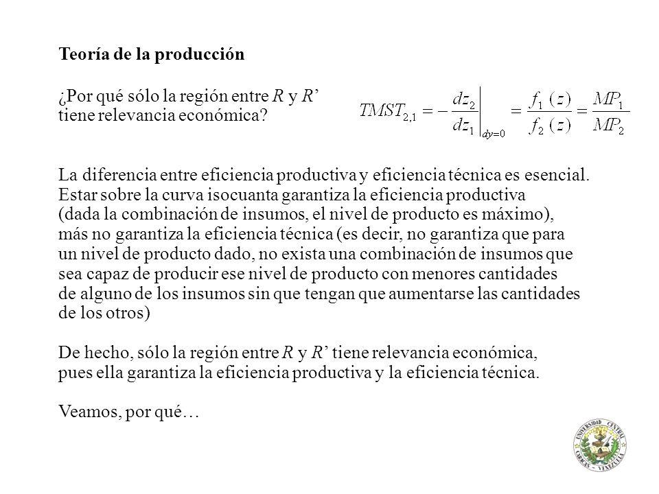 Teoría de la producción ¿Por qué sólo la región entre R y R tiene relevancia económica? La diferencia entre eficiencia productiva y eficiencia técnica