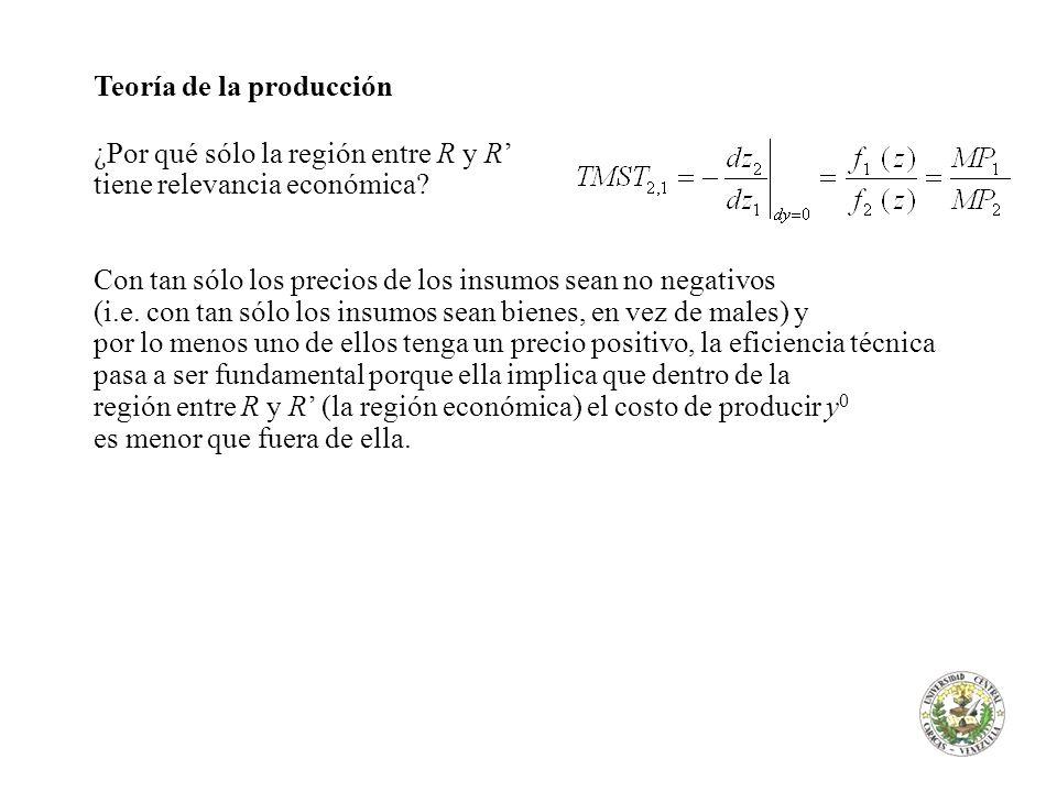 Teoría de la producción ¿Por qué sólo la región entre R y R tiene relevancia económica? Con tan sólo los precios de los insumos sean no negativos (i.e