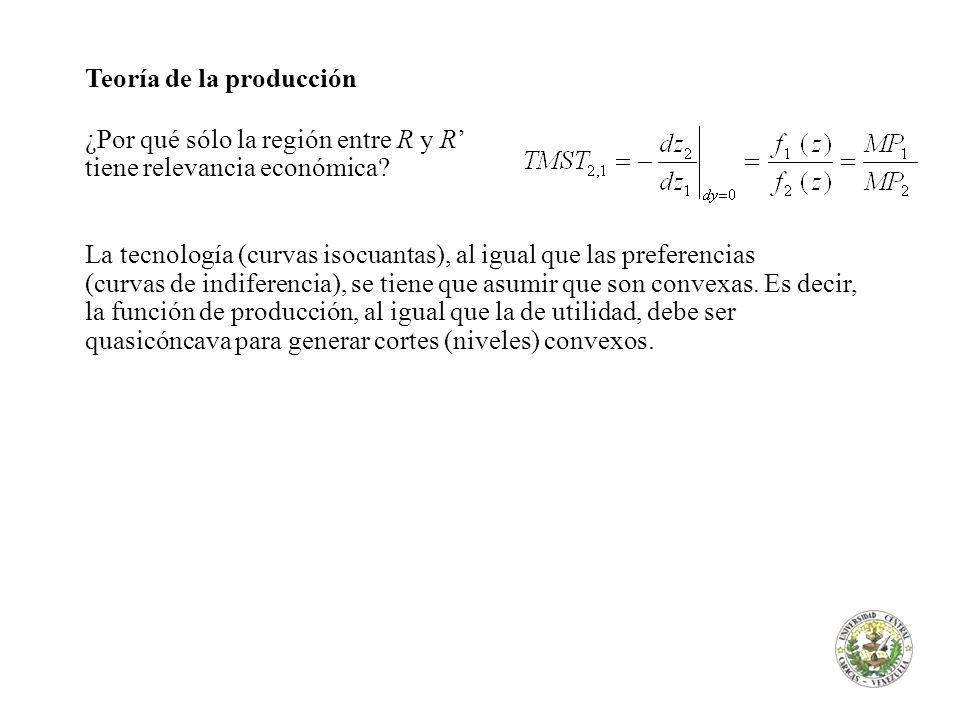 Teoría de la producción ¿Por qué sólo la región entre R y R tiene relevancia económica? La tecnología (curvas isocuantas), al igual que las preferenci