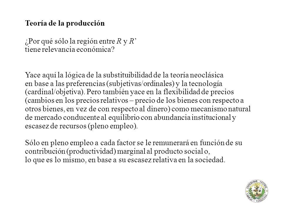 Teoría de la producción ¿Por qué sólo la región entre R y R tiene relevancia económica? Yace aquí la lógica de la substituibilidad de la teoría neoclá
