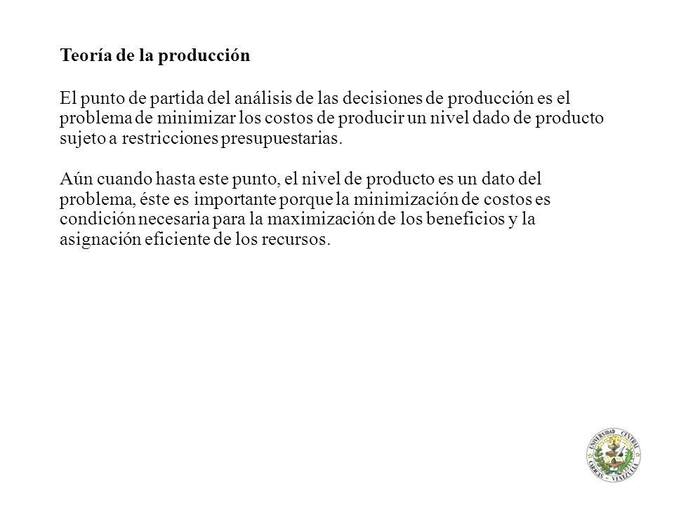 Teoría de la producción El punto de partida del análisis de las decisiones de producción es el problema de minimizar los costos de producir un nivel d