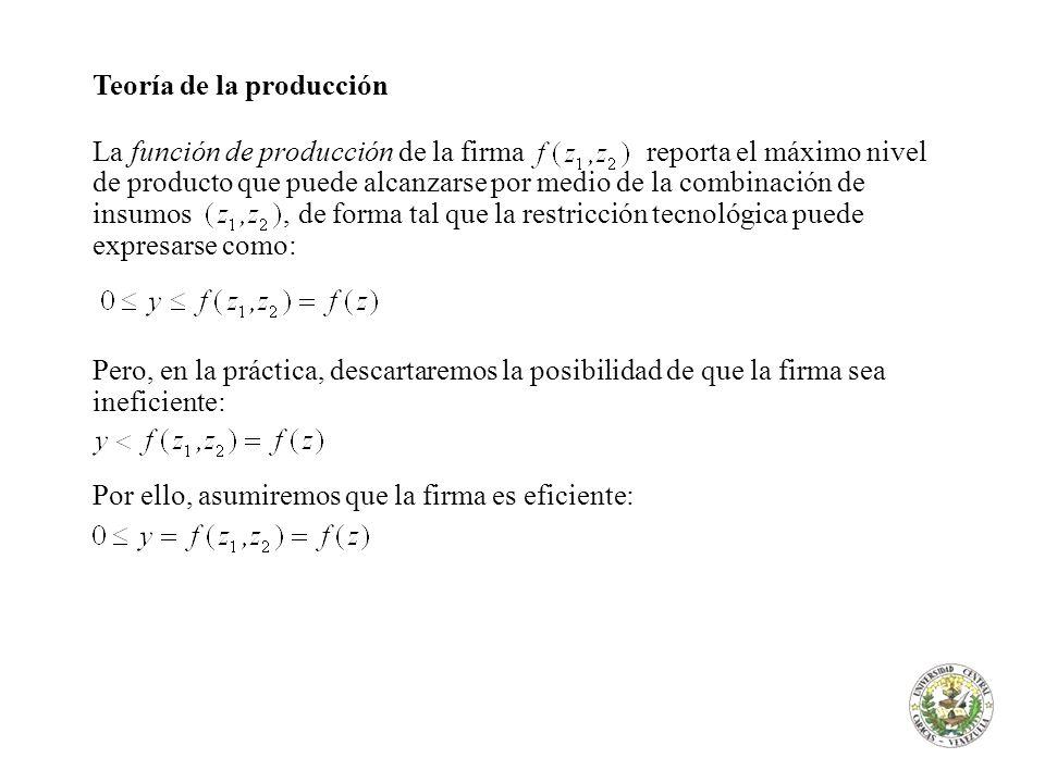 Teoría de la producción La función de producción de la firma reporta el máximo nivel de producto que puede alcanzarse por medio de la combinación de i