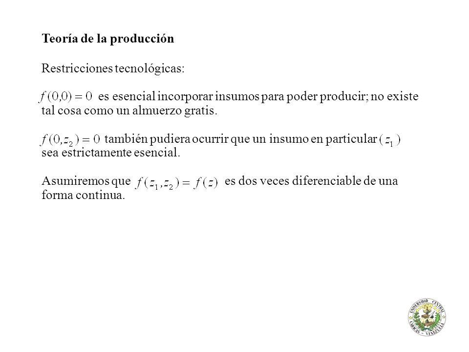 Teoría de la producción El producto marginal Mpi del insumo i en la producción de y es la tasa a la cual el máximo factible nivel de producto y cambia en respuesta a un cambio en.