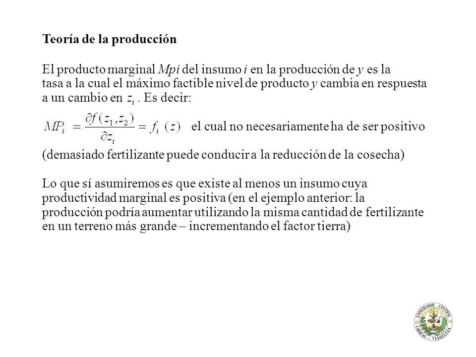 Teoría de la producción El producto marginal Mpi del insumo i en la producción de y es la tasa a la cual el máximo factible nivel de producto y cambia