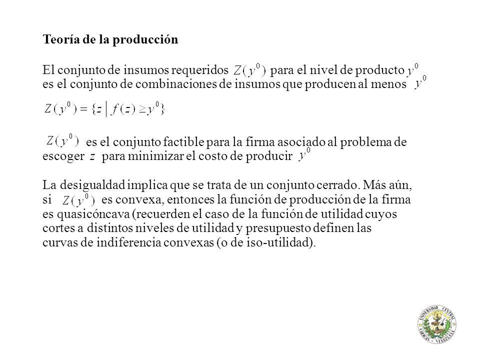Teoría de la producción El conjunto de insumos requeridos para el nivel de producto es el conjunto de combinaciones de insumos que producen al menos e