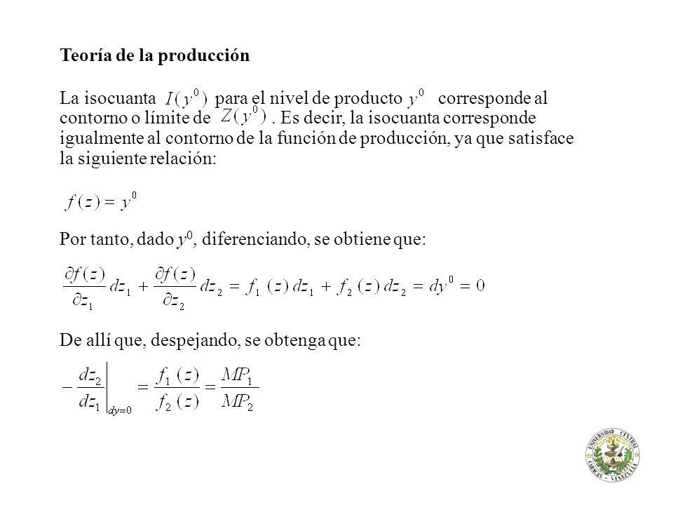 Teoría de la producción El lado izquierdo es el negativo de la pendiente de la isocuanta o, lo que es lo mismo, la tasa a la cual se substituye z 1 con z 2 para mantener el nivel de producto constante.